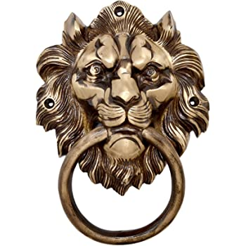 """Two Moustaches Brass 7.5"""" Lion Mouth Door Knocker"""