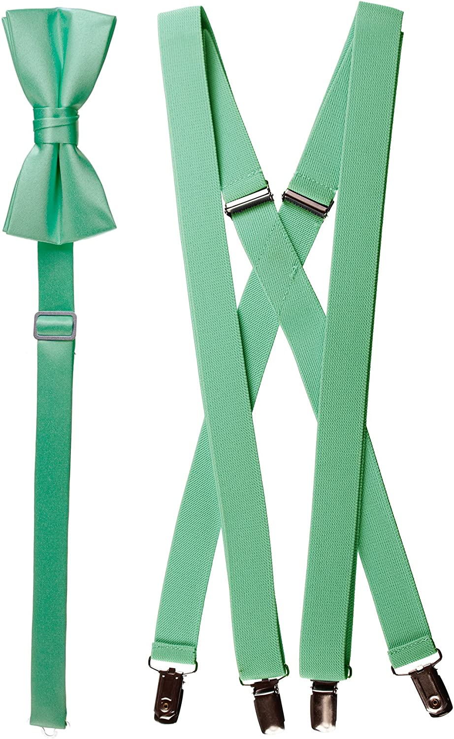 Adults Matching Mint Green Adjustable Suspender and Bow Tie Set, Solid Color