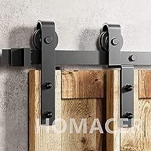 Homacer Sliding Barn Door Hardware Single Track Bypass Double Door Kit, 5FT Flat Track Classic Design Roller, Black Rustic Heavy Duty Interior Exterior Use