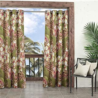 1GShophome Hawaiian Decorations Collection Patio Decor Exotic Flowers Blooms Summertime Getaway Dream Vacation Enjoyment Fun Image Tents for patios Green Ivory Pink W104 x L96 in