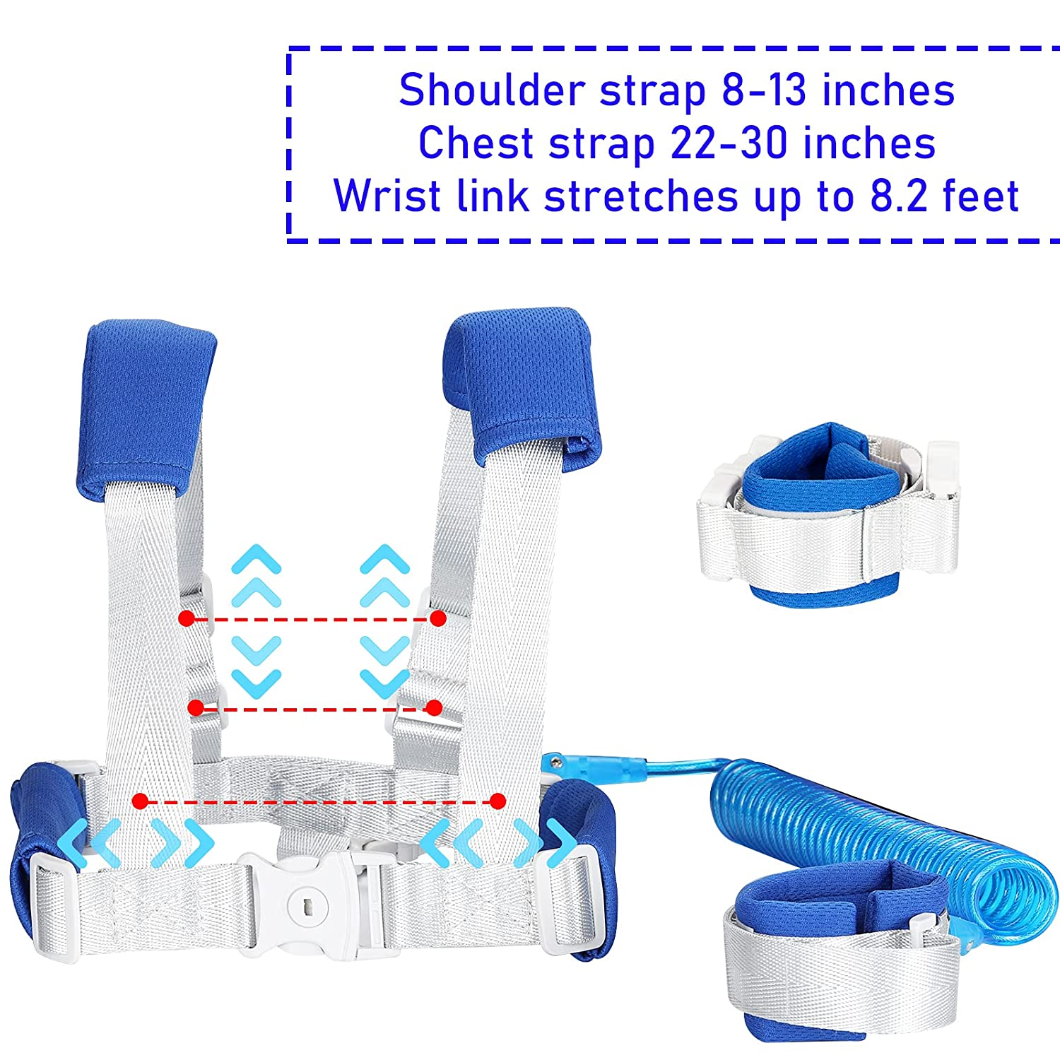 2 in 1 Baby Leash,Safety Toddler Leash Harness Anti Lost Wrist Link with Backpack Harness for Child Safety Wristband Leash(Blue, 8.2ft Length)
