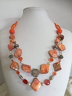 """Collana Donna fatta a mano a due fili""""Luminosa"""" arancione"""
