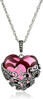 Sterling Silver Oxidized Marcasite and Gemstone Colored Glass Filigree Heart Pendant Necklace, 18