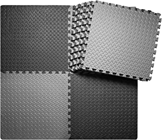 innhom 12/24 Tiles Gym Mat Exercise Mats Puzzle Foam Mats Gym Flooring Mat Interlocking Foam Mats with EVA Foam Floor Tiles for Gym Equipment Workouts, Black/Gray