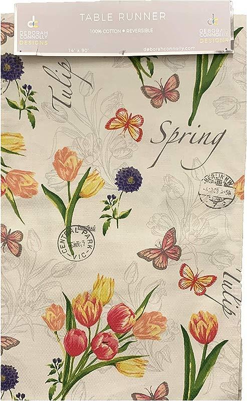 Deborah Connolly Designs Vintage Tulip Floral Table Runner 14 X 90