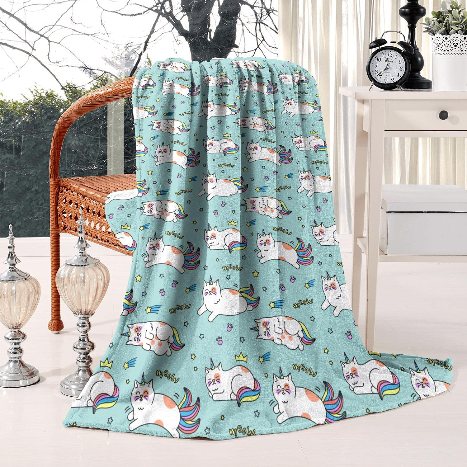TEedhkf3 Meow - Cute Manufacturer direct delivery Cat Blue Child half Lightweight Printed Unicorn