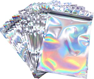100 Counts Resealable Smell Water Proof Bags Foil Pouch Bag Flat Ziplock Bag with Clear Window for Party Favor Food Storage Gifts Bags Goodie Bag Holographic Color, 5.5 x 7.8 Inches