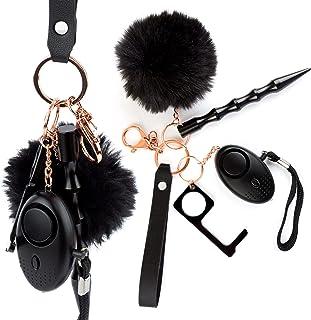 جاکلیدی خود دفاع شخصی برای زنان ، دختران - ابزارهای محافظ قابل حمل زنجیره کلید - جاکلیدی ایمنی زنانه با دزدگیر ، پنجره شکن ، در بازکن بدون لمس ، مچ بند ، پمپوم - دفاع شخصی سیاه
