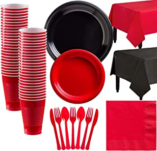 Party City Black and Red Plastic Tableware Party Supplies for 50 Guests, 487 Pieces, Includes Plates, Napkins, and Table C...