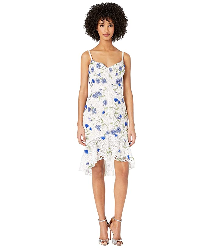8a3d28b0 Marchesa Notte Sleeveless Thread Embroidered Guipure Cocktail with Corset  Bodice, 3D Flowers and Ruffle Hem (Ivory) Women's Dress