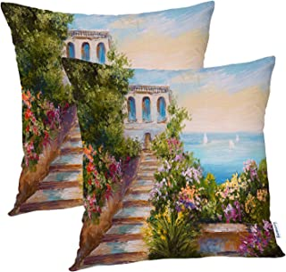 Batmerry Colorful Summer Decorative Pillow Covers 18x18 Inch Set of 2, Blue Artist Beautiful Landscape Flowers Oil Paintin...