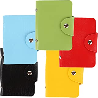 Trenton Gifts Faux Leather Credit Card Holder | 10 Vinyl Sleeves | Set of 5 Different Colors