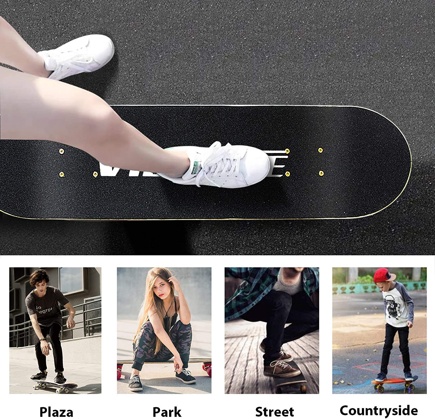 PHOEROS Skateboards 31/'/'x8/'/' Standard Skate Boards. Pro Cruiser Skateboards with 7-Layers Canadian Maple Double Kick Concave Deck Complete Skateboards for Beginners Kids Adults Boys Girls Teens