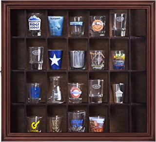 Gallery Solutions 18x16 Shot Glass Display Case with Hinged Front,Walnut