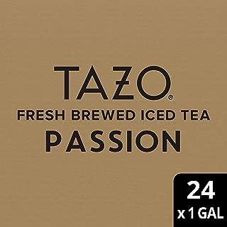 Tazo Passion Fresh Brewed Iced Tea Herbal, Caffeine Free, Non GMO, 1 gallon, Pack of 24