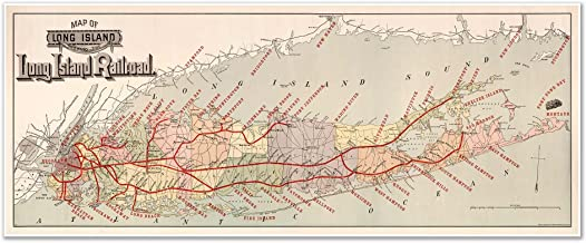 Map of Long Island showing the Long Island Railroad by the American Bank Note Company circa 1895 - measures 24