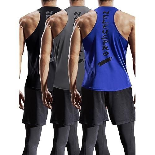 e6fa924c Neleus Men's 3 Pack Dry Fit Y-Back Muscle Tank Top