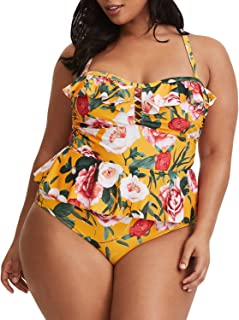 Womens Plus Size Swimwear Peplum Tankini Tops Tummy Control 2 Piece Floral Retro Swimsuits