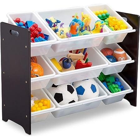 Delta Children MySize 9 Bin Plastic Toy Organizer, Dark Chocolate