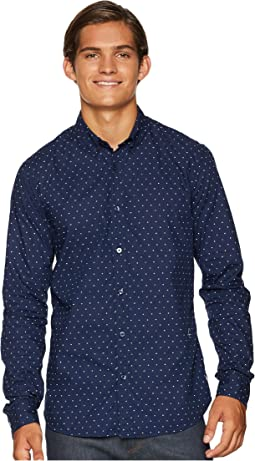 Ams Blauw Slim Fit Simple Lightweight Printed Shirt