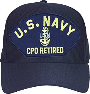 U.S. Navy CPO Retired with Anchor Baseball Cap. Navy Blue. Made in USA