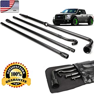 DICN Truck Spare Tire Changing Repair Tool for Ford F150 2004-2014 Car Wheel Remove Jack Replace Irons OEM Lug Nut Wrench Extension 4Pcs Kit Set with Bag US Ship