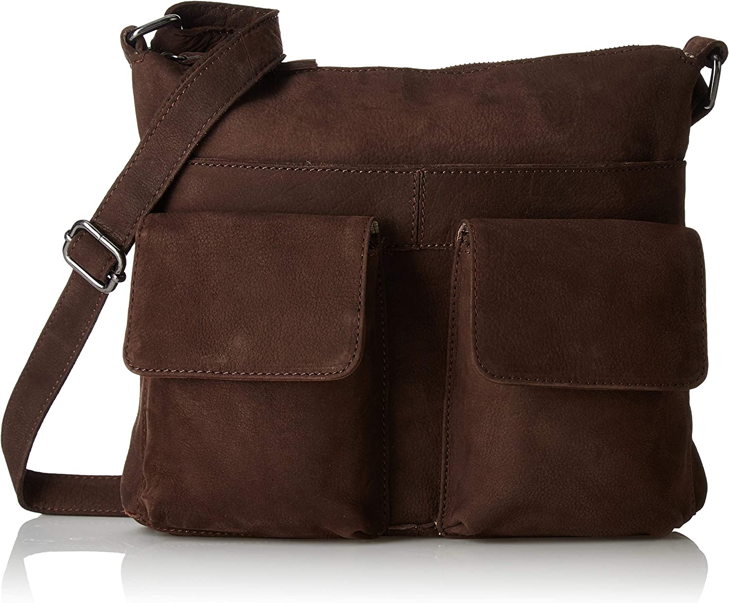 Tresori Women's Real Leather Cross over Bag with Front Pockets One Size Brown