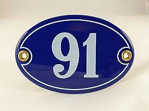 Emaille huisnummer bord nr. 91, ovaal, blauw-wit Nr. 91 Blau-Weiß