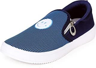 2ROW Women's Smiley Striped Blue Loafers