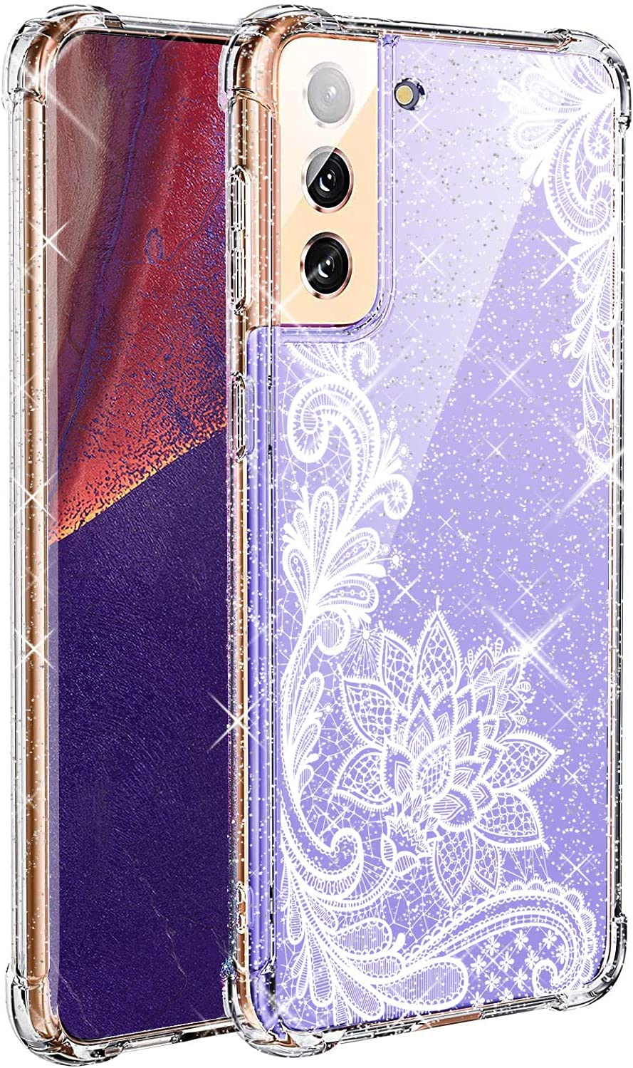 KIOMY Clear Glitter Case for Samsung Galaxy S21 Plus S21+ Girl Women Bling Sparkle Shiny Luxury with Lace Flower Design Shockproof Bumper Protective Floral Cell Phone Back Cover Slim Fit Flexible TPU