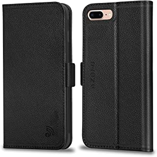 AZOFO iPhone 8 Plus Case, iPhone 7 Plus Case, Genuine Leather iPhone 8 Plus Wallet Case, Flip Cover Book Style, Card Holder Slots, Magnetic Clousure Compatible iPhone 8 Plus/iPhone 7 Plus, Black