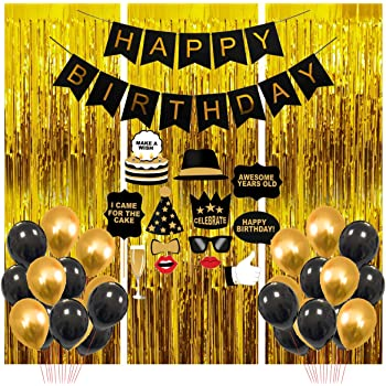 Party Propz Happy Birthday Party Decoration Items Combo41pcsfor Black And Golden Balloons Banners Foil Curtain Photo Booth Props Boy Girl Adults 40th 50th 60th Quarantine Theme Decor Amazon In Toys Games