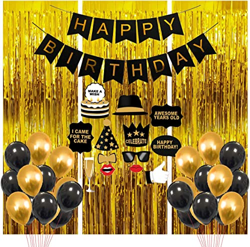 Party Propz Happy Birthday Decoration Kit Items-Combo41Pcsfor Black and Golden Balloons Banners Foil Curtain Photo Bo...