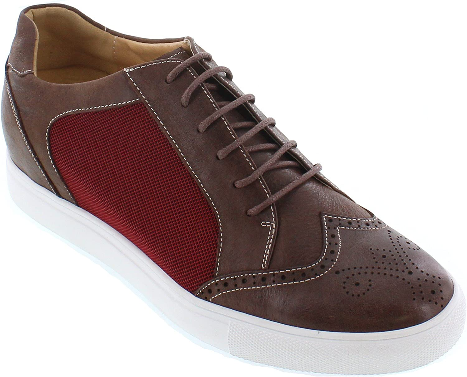 CALTO Men's Invisible Height Increasing Elevator shoes - Brown & Metallic Red Leather Mesh Lace-up Lightweight Fashion Sneakers - 2.4 Inches Taller - J9108