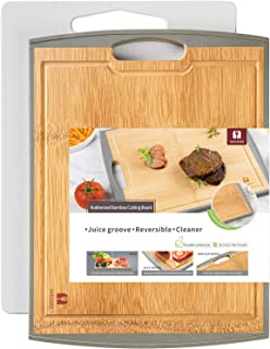 SUPJOYES Cutting Boards for kitchen: Bamboo Wood Cutting Board and Plastic Chopping Board, Large Cutting Board Set of 2 Pi...
