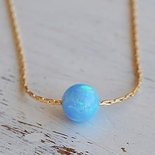 Collana con sfera opale blu Collana con perla opale riempita in oro 14 kt Lunghezza 41 cm / 16 pollici + 5 cm di estensione