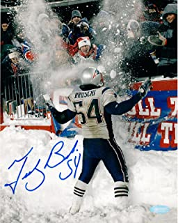 Tedy Bruschi Signed Photo - Snow Play 8x10 - Autographed NFL Photos