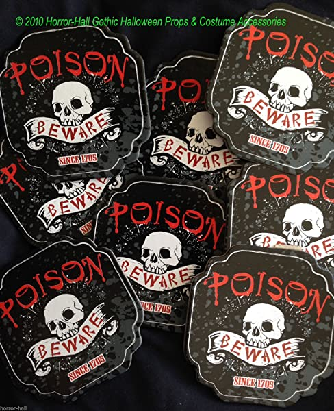 Gothic POISON BEWARE SKULL COASTERS Bar Drink Pirate Party Decorations 8pc SET