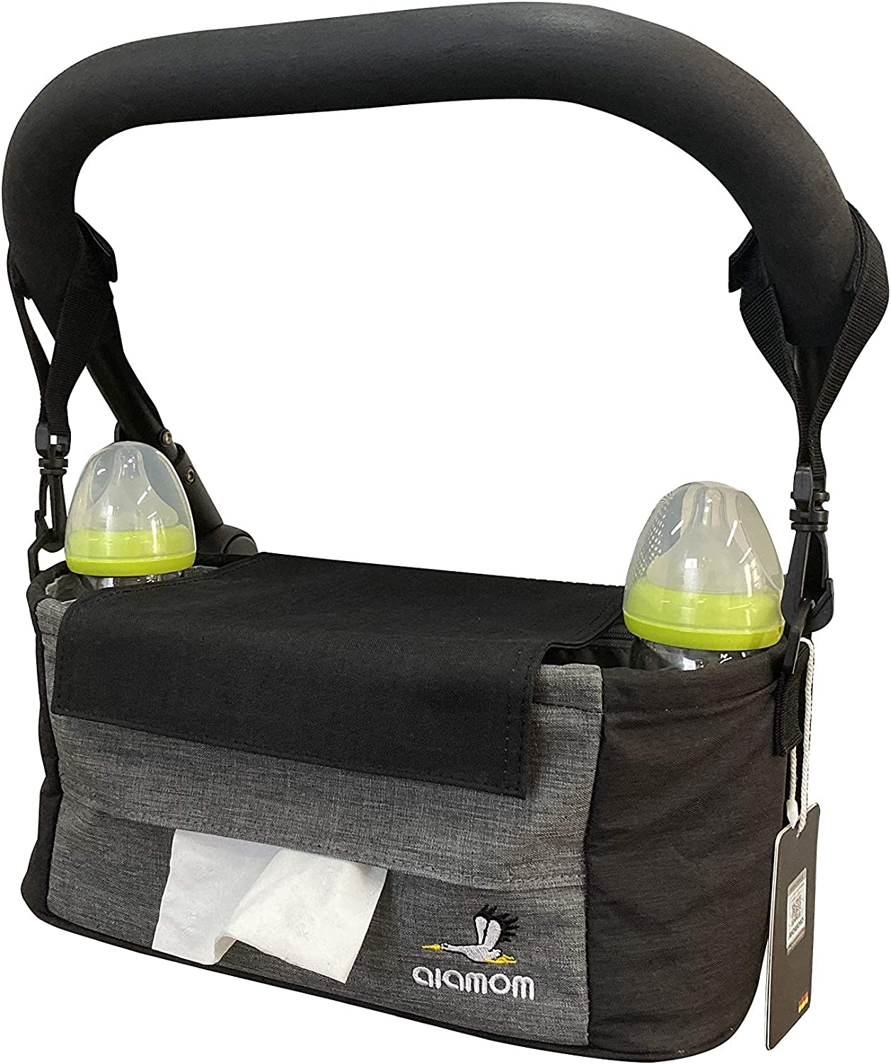 Stroller Organizer with Cup Holders- Large space stroller organizer(15X6.3.X6in)-Baby stroller storage bag that can be used as a shoulder bag-Universal Stroller Organizer