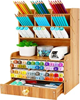 Wellerly Wooden Desk Organizer, Multi-Functional DIY Desktop Pencil Holder with 15 Compartments Stationary Box Storage Rac...