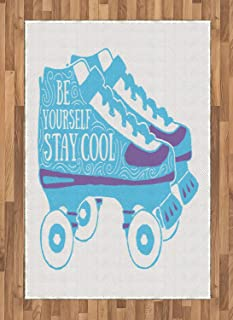 Stay Cool Area Rugs 4'x5.7'ft,Be Yourself Stay Cool Typography on Roller Skates 90s Theme Non Skid Floor Mat Carpet Entry Throw Runners Rug,Sky Blue White and Blue Violet