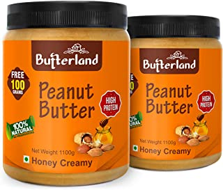 Butterland Peanut Butter 100% Natural and Pure | Honey Creamy | 2.2 kg | Pack Of 2 | 28% protein | No Added Sugar | Vitami...