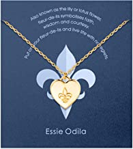 ESSIE ODILA Fleur De Lis Necklace for Women and Girls, 14K Rose Gold Plated S925 Sterling Silver Love Lily Flower Necklace for Mom and Daughter Mother's Day Christmas Birthday Jewelry