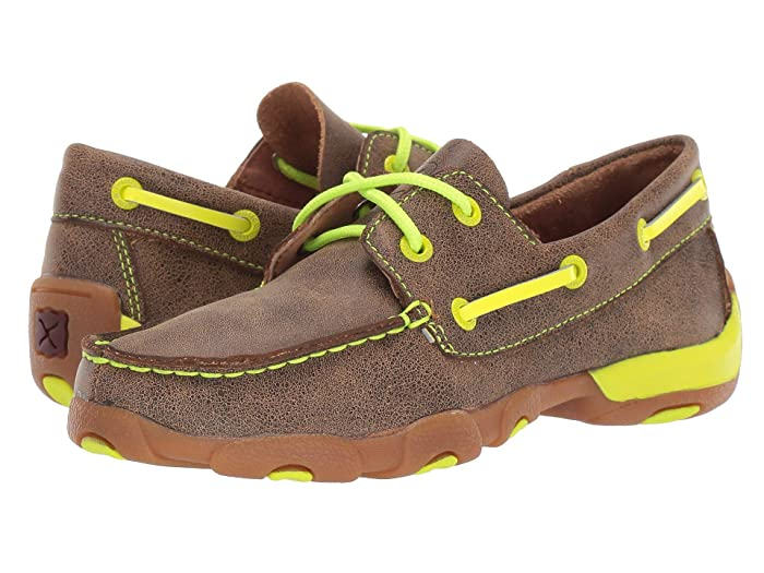 Twisted X  Driving Moc Boat Shoe (Little Kid/Big Kid) (Bomber/Neon Yellow) Shoes