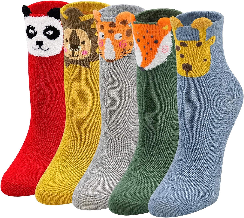 Hellomamma Girls Ankle Socks Kids Cute Animal Cotton Sock Children Cartoon Sox