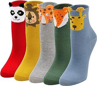 LOFIR Calcetines Divertidos de Algodón para Niñas Calcetines Animales con Dibujos de Perro Gato, Calcetines Vistosos para ...