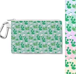 Kawaii Cactus Plants Canvas Zip Pouch - Multi Purpose Pencil Case Bag