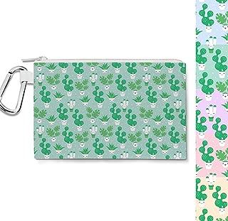 Kawaii Cactus Plants Canvas Zip Pouch - Multi Purpose Pencil Case Bag