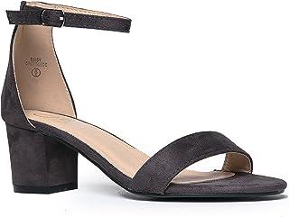 48f9fb23daf J. Adams Ankle Strap Kitten Heel - Adorable Low Block Heel - Daisy