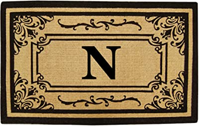 Nedia Home Heavy Duty Coco Georgetown Doormat, 18 by 30-Inch, Monogrammed N